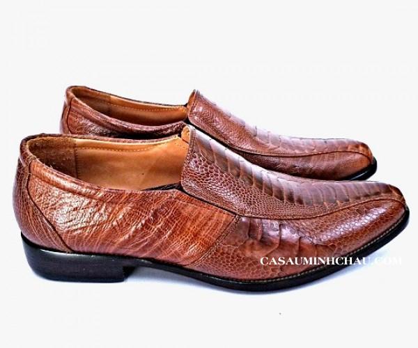 giày tây da đà điểu đế da