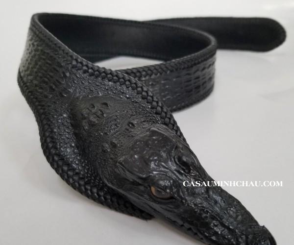 thắt lưng nam da đầu cá sấu