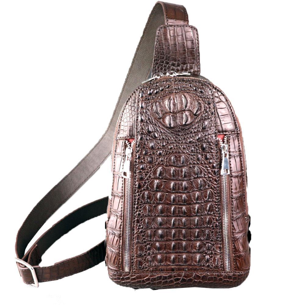 Túi đeo chéo nam cá sấu làm từ da phần lưng