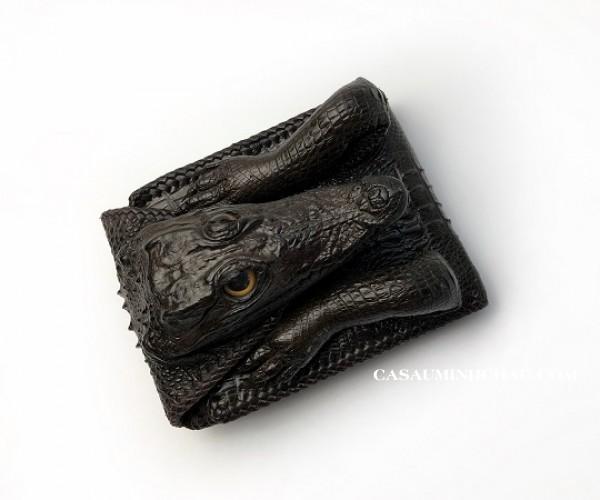 ví nam da cá sấu nguyên con một mặt đan viền